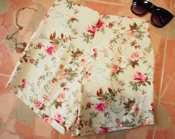 "Floral High Waist Shorts - Shabby Chic Rose - Summer Shorts - Free Size Waist 26""-28"", Hip 35""-37"""
