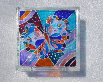 BUTTERFLY Painted Glass Block, Night Light, Lighted Glass Block, Hand Painted Glass, Sun Catcher, Glass Block Lamp