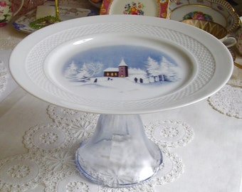 Church in the Snow - Pedestal Cake Stand - Muffins - Fruit & Nuts - Cookies - 1970s Vintage - Tradition - Lorenz Hutschenreuther - Germany