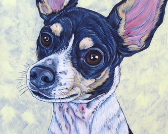 "Custom Pet Portrait Acrylic Painting on Stretched Canvas 12"" x 12"" of One Dog, Cat, or Other Animal. OOAK Hand Painted Ready to Hang Art."