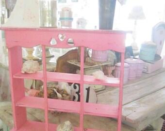 Vintage shelf  Chippy  shabby chic  pink shelf shabby chic cottage chic