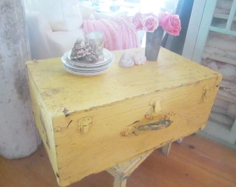 Vintage wood trunk pastel yellow wood coffee table  shabby chic cottage chic