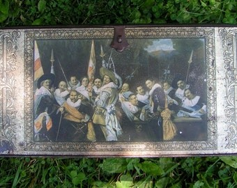 Vintage Tin Biscuit Box  -  AWESOME GRAPHICS  -- based on Medieval Europe - Netherlands