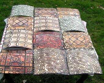 Three Stamped Metallic Panels  -  Geometric Designs   Wall Art   Garden Display