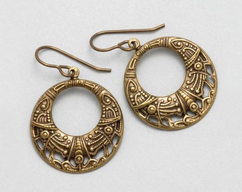 Brass Hoop Earrings - Antiqued Filigree Hoop Dangle Earrings - Filigree Earrings - Nickel Free Antiqued Brass Jewelry - Drop Earrings (Tori)