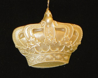 Handmade Artisinal Beeswax Ornament - ORNATE CROWN w. Delicate Maple Leaf Details