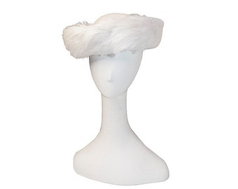 White Hat, Wedding , Feathers, Molded Wool Felt, Church Hat, Vintage 1970s, Breton