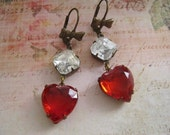 Red and clear Vintage Glass heart dangle earrings.  Siam red heart bow drop earrings, Valentines Heart Earrings. By Vintagefairdesigns