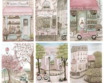 Paris Decor, Vintage Paris Bedroom, Personalized Cafe, Patisserie And Flower Shop, Paris Themed Nursery, Set Of 6 Unframed Prints, 6 Sizes