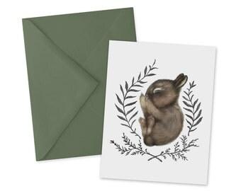 Sleeping Baby Bunny Card 1pc Blank Note Card A2
