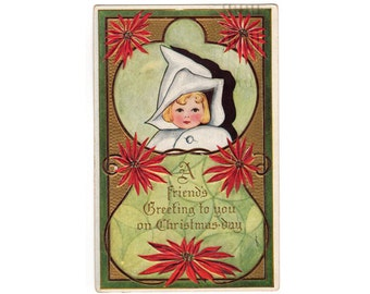 Vintage Christmas Postcard, Baby Girl in Bunting Bag, Red Poinsettias, Embossed Holiday Post Card, Gold Background, 1910s Paper Ephmera