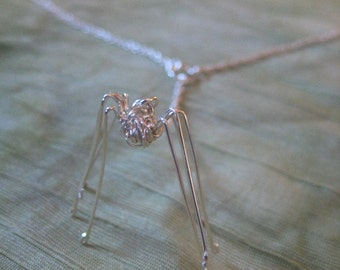 Spider Necklace Pendant - Daddy Long Legs Spider Pendant - Daddy Long Legs Necklace -Wire Wrapped Spider - Modern Jewelry by Jyoti McCall