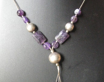 Vintage Sterling and Amethyst Necklace