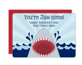 EARLY BIRD SALE - Shark Classroom Valentines - Personalized Valentines Cards for Kids - Valentine's Day Cards - Childrens Valentines