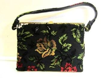 Vintage Clasp Purse Black Floral Flower Design Textured Fabric Elegant Unique