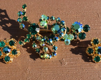 Vintage Signed Austria Green Rhinestone Pin Brooch and Earrings Set