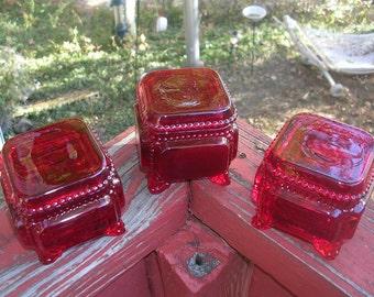 Vintage Ruby Red Westmoreland Trinket Box (3)