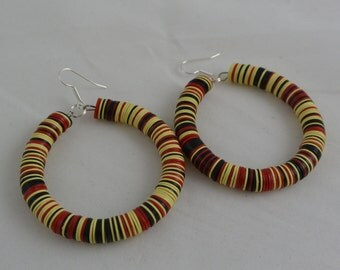 African Hoop Earrings, Ethnic, Tribal,Afrocentric