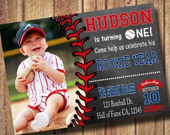 Baseball Birthday Invitation - Party Invite; rookie year first birthday