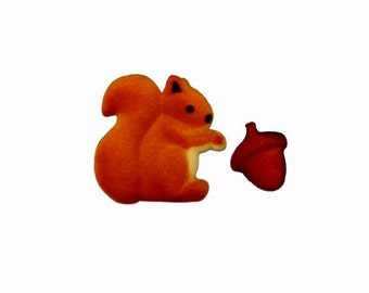 Squirrel and Acorn Edible Sugar Decorations for Cupcakes and Cakes (12)