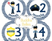 READY TO SHIP Police Baby Month Stickers - Month to Month Baby Stickers - Bodysuit Stickers for Baby Boy Policeman Cop - B133