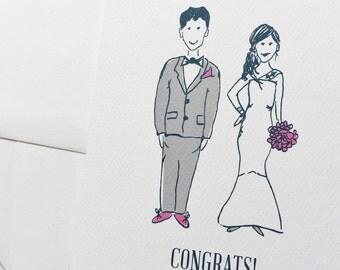 Illustrated Wedding Card-Bride and Groom