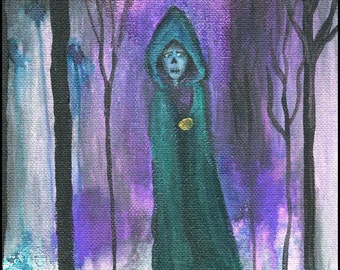ORIGINAL ART: ROBED Small skull painting, 6x6 inches acrylic on canvas  // lady, forest, mysterious, dark, gothic // purple, silver, green