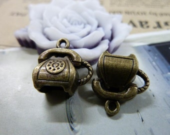 20pcs 8x14x15mm antique bronze telephone charms pendant C1486