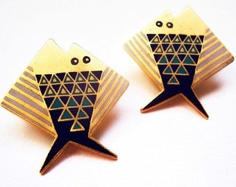 "Laurel Burch Earrings Folkloric FISH Signed Post Backs Blue Enamel Gold Metal Abstract Geometric Design 1 3/8"" Vintage"