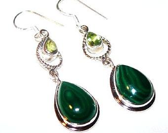"Peridot Malachite Dangle Earrings Sterling Silver Signed 925 French Hooks 2"" Vintage"
