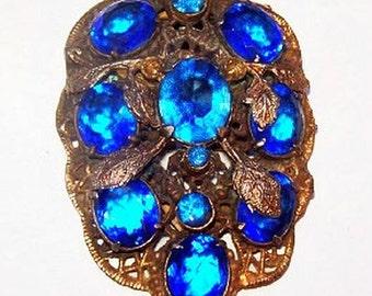 "Art Nouveau Dress Fur Clip Blue Heliotrope Rhinestones Gold Filigree & Leaves 2 1/4"" Vintage"