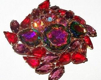 "Juliana D&E Brooch Pink Red Fuchsia Rhinestones Layered Domed BIG 3"" Vintage"