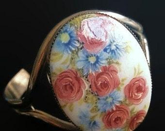 "Porcelain Flower Bracelet Pink & Blue Roses Oval Cameo Cuff Style Silver Metal 1 7/8"" W Vintage"
