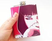 Pulp Fiction hip flask, 7 oz hip flask, pop art flask, custom flask, flask for women, pink flask, Pulp Fiction fan art, bridesmaids flask