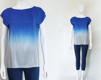 Ombre Silk Shirt.  FLIGHT hand dyed blue and silver silk top