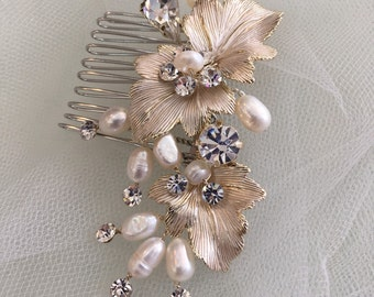 Wedding Hairpiece, Champagne leave freshwater pearls rhinestone twigs