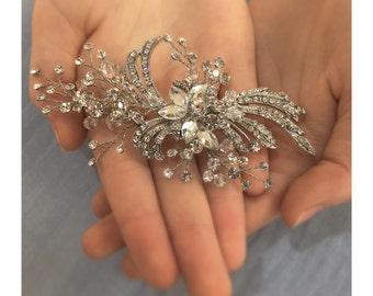 Rhinestone Hair Spray ~ Swarovski Crystal Components, Wedding Day, Bridal Hair Accessories, Hair Adornments, Sparky Hair Clip, Comb, Veil