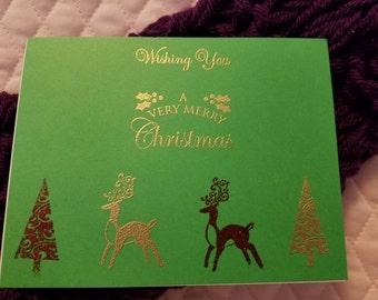 Christmas Tree and Reindeer Card on Green
