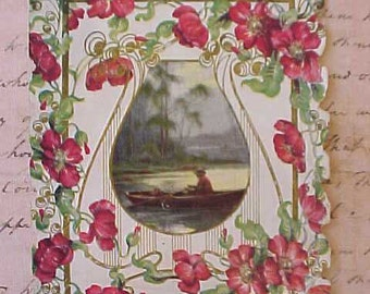 Charming Edwardian Card with Crimson Poppy Design