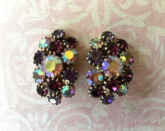 Pretty Vintage 1950's Rhinestone Earrings with Purple Shades in Aurora Borealis