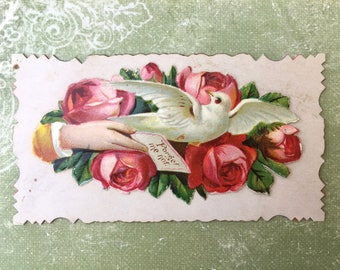A Charming Victorian Calling Card with White Dove and Deep Pink Roses