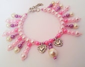 Silver Hearts & Pearls PET Dog Cat Necklace Collar HANDMADE Beaded Pets Jewelry