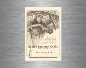 Antique Bakers Hot Cocoa Chocolate Airplane Biplane Aviation PILOT Thermos Kitchen Refrigerator MAGNET