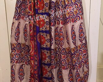 Blue, red ,white  gold upcycled sari for belly dance harem pants bloomers pantaloons tribal renaissance
