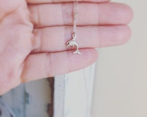 Dolphin Necklace  - TINY Sterling Silver 3D Dolphin Necklace - Tiny Cute 3D Dolphin - All Sterling Silver - Everyday jewelry