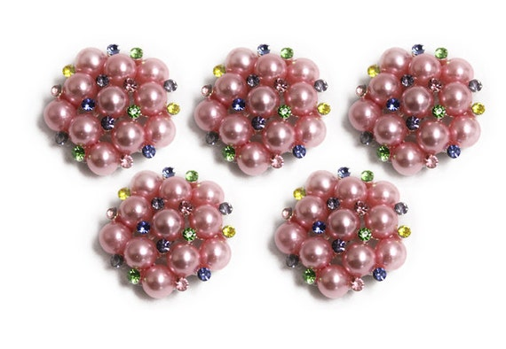Metal Rhinestone Buttons - Pearl Rhinestones - 26mm - set of  FIVE - Rainbow