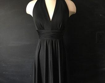 Vintage 70's Black Halter top Maxi dress