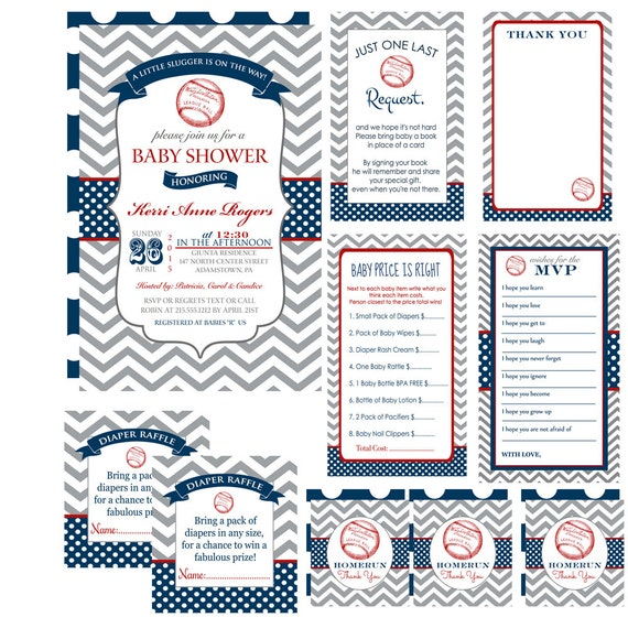 baseball baby shower invitation bundle pack classic boys party,