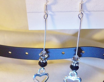 Earrings/hollow hearts/daisy spacers/6mm black crystals/silver crystals      Free shipping USA orders only