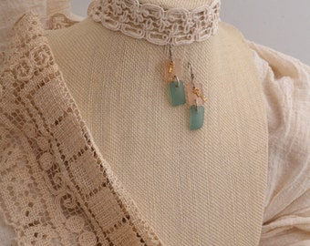 Peach & Soft Teal Glass Earrings.  FREE SHIPPING